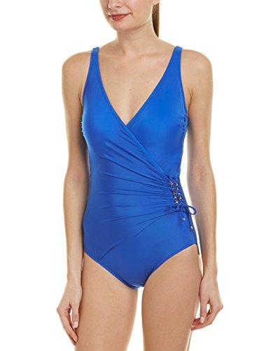 Gottex Women's Wrap Surplice One Piece Swimsuit, Gold Standard Royal Blue, 18