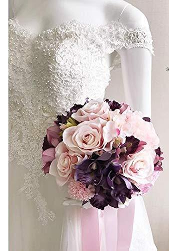 weichuang Ramo de novia de boda ramo de novia hecho a mano de PE rosas buque de noiva flores de novia ramos de novia pristiano zouboutin Holding flores (Color: Negro)