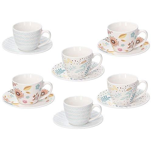 Tognana Set 6 Tazzine Tazze Caffe' con Piattini in Porcellana Iris Naif 80 CC