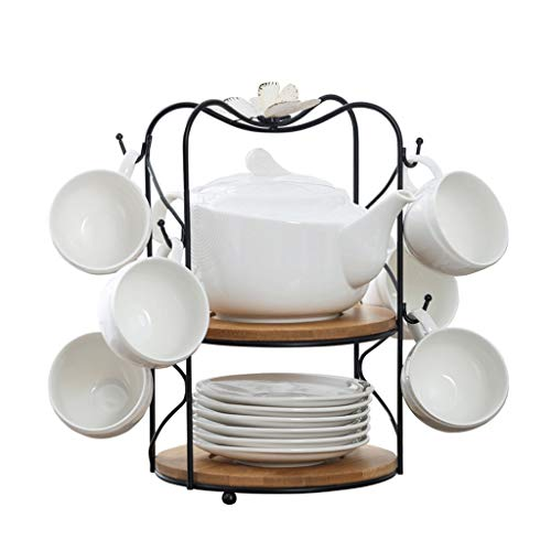 Jixi American Style Kaffeetasse Set Haus Teacup Set Keramik Kaffeetasse Saucer kreative Kaffeetasse Set Geschenk Teetasse (Color : White)