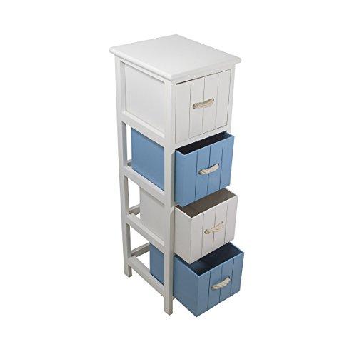 FRANDIS 199308 Jersay Muebles de Madera, Lacado, Blanco, con 4 cajones, Blanco/Azul, 25 x 29 x 86 cm