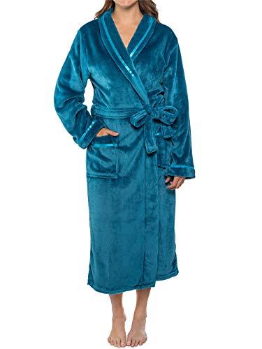 PAVILIA Plush Robe For Women | Turquoise Teal Blue Fluffy Soft Bathrobe | Luxurious Fuzzy Warm Spa Robe, Cozy Fleece Long Robe | Satin Trim, Large-X-Large