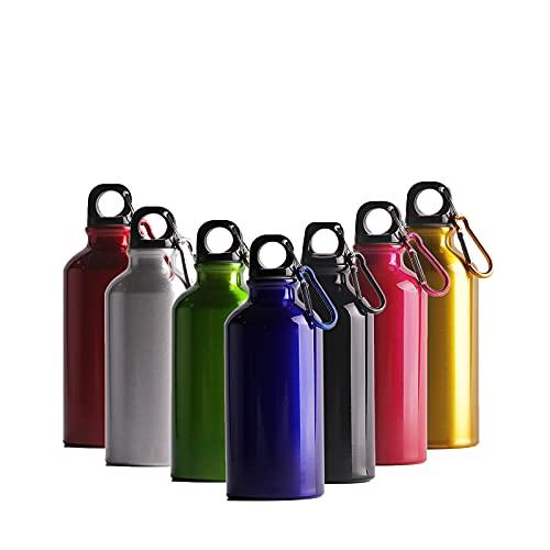 Cieffe Borraccia in Alluminio con Gancio e Tappo a Vite - Bottiglia Riutilizzabile Comoda e Leggera per Trekking ,Camping, Softair (blu,400ML)