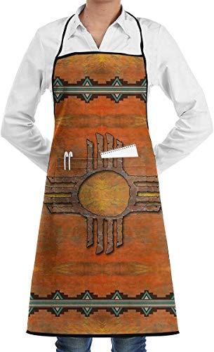 N\A Ancien Mexique Native Illustration Tribal culturel réglable Polyester Lavable Unisexe Cuisine Tablier de Cuisine avec Poche