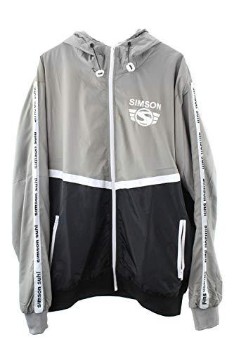 MZA Jacke Windbreaker Simson Suhl, Logo auf Ärmeln und Brust, Kapuze, Farben grau, schwarz und weiß, Größen XS-XXXL, Größe:XL