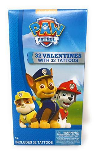 Paw Patrol Valentines - 32 Valentine Cards With 32 Paw Patrol Tattoos