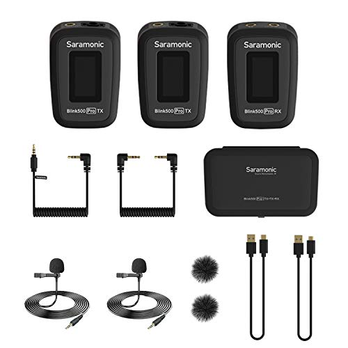 Saramonic Blink500 Pro 2.4GHz Dual-Channel Wireless Lavalier Microphone for DSLR Video Camera Android iOS iPhone Tablet PC Computer Recording Facebook YouTube Podcast Vlog Interview