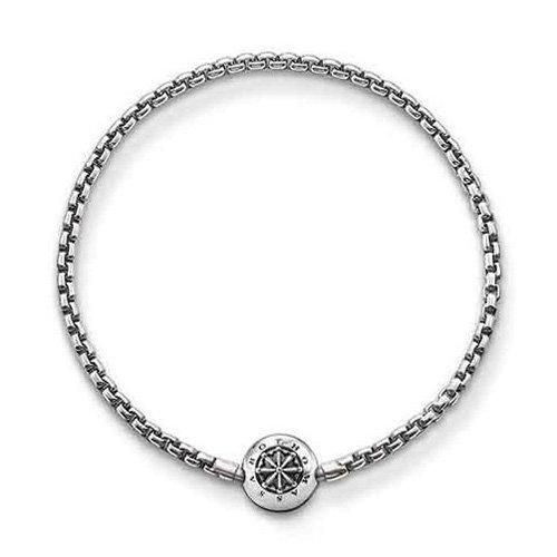 Thomas Sabo Damen Herren-Armband Karma Beads 925 Sterling Silber geschwärzt Länge 18 cm KA0002-001-12-L19