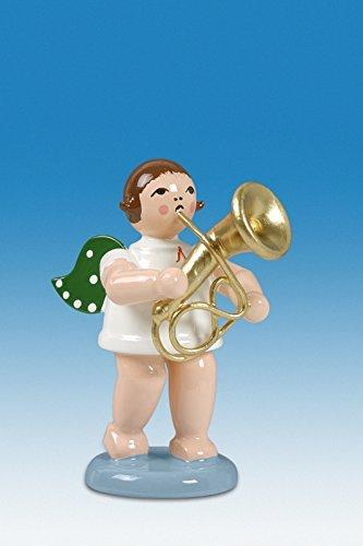 Engelmusikant Engel mit Baritonhorn mit Krone Höhe ca 6 cm NEU Holzengel Weihnachtsengel Erzgebirge Holz