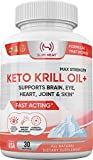 Keto Krill Oil 500mg with Omega-3 EPA, DHA, Astaxanthin & Phospholipids - Supports Brain, Eye, Heart, Joint, Skin Health - Antioxidant Krill Oil Fish Supplement for Women & Men - 30 Day Supply