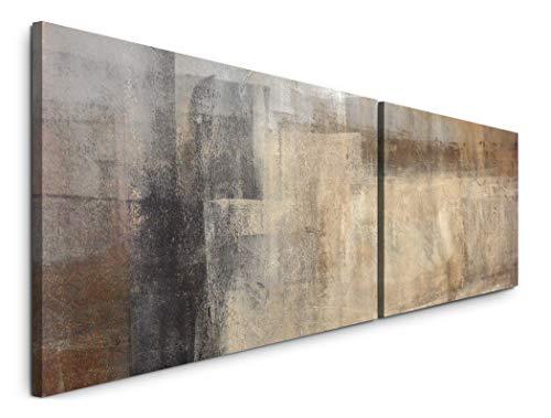 Paul Sinus Art Abstrakte Kunst beige braun in 180x50cm - 2 Wandbilder je 50x90cm - Kunstdrucke - Wandbild - Leinwandbilder fertig auf Rahmen