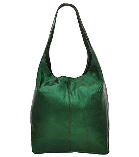 Freyday Damen Ledertasche Shopper Wildleder Handtasche Schultertasche Beuteltasche Metallic look (Grün Metallic)