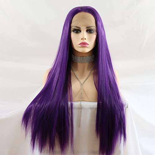 Lucyhairwig Dark Purple Synthetic Lace Front Wigs Silky Straight Heat Resistant Synthetic Hair Half Hand Tied Replacement Wig For Women