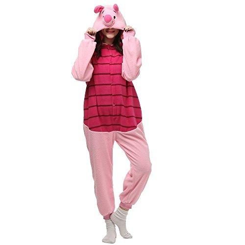 Piglet Onesie Adult. Pig Costume Kigurumi Pajama for Women and Teens (S) Pink