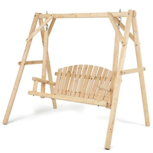 Tangkula Wooden Porch Swing, A-Frame Wood Log Swing Bench Chair, Outdoor Rustic Curved Back Swing...