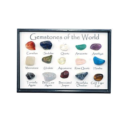 Namvo Juego de 15 piedras preciosas del mundo minerales, piedras brillantes naturales para la escuela, educación geológica, decoración del hogar, regalo para niños
