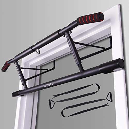 ENAVANT Fold-able Metal Doorway Pull Up Bar, with Suspension Trainer Strap Included, Compatible with Doorways and Door Frame, No Drilling Required