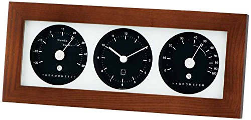 エンペックス気象計 温度湿度計 リビ・ウッディ温湿度計 置き掛け兼用 日本製 ダークブラウン LV-4302