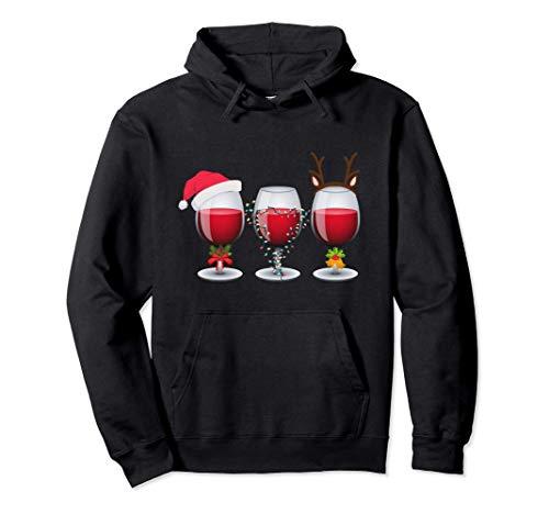 Copas de vino Santa Hat Luces navideñas Reno Sudadera con Capucha