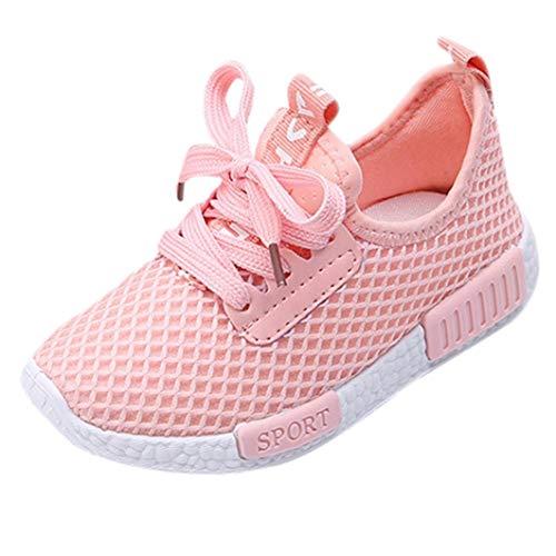 Longra Bébé Garçons Filles Chaussures Sport Running Chaussures Casual Mode Engrener Chaussures Lettre Imprimé Chic Chaussures Outdoor Mignon Sneakers Basket Chaussure Bambin Shoes(Rose,EU29)