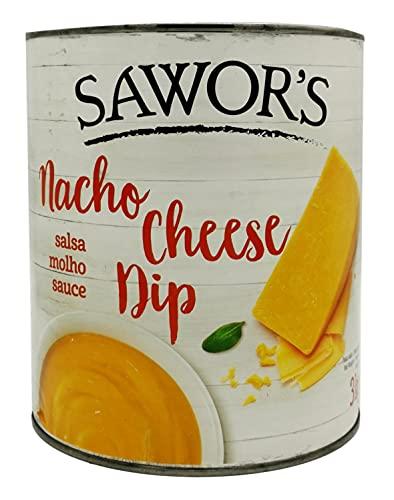 SAWORS - Queso Cheddar Líquido, Nacho Cheddar, Salsa de Queso, Salsa Cheese Nacho Dip, Salsa Cheddar con toque Jalapeño, Lata - 3Kg