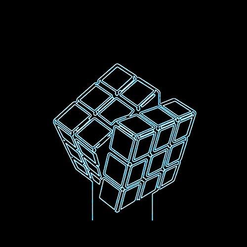 GCCQT Cubo de Rubik LED 3D Luz de la noche 7 colores LED Touch lámpara de mesa con para niños cumpleaños regalo de San Valentín de Navidad ,carga USB。