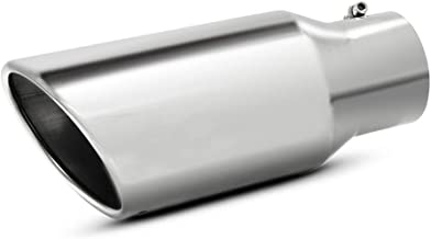 """Apeixoto 3.5 Inch Tip Tailpipe 3.5 inch Inlet 5"""" Outlet 12"""" Long Polished Stainless Steel Universal Trucks Car Exhaust Tip..."""