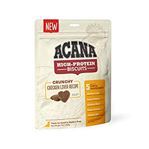 ACANA Crunchy Biscuits Dog Treats, Chicken Liver Recipe, High Protein, small breed (DAC3464-9OZ)