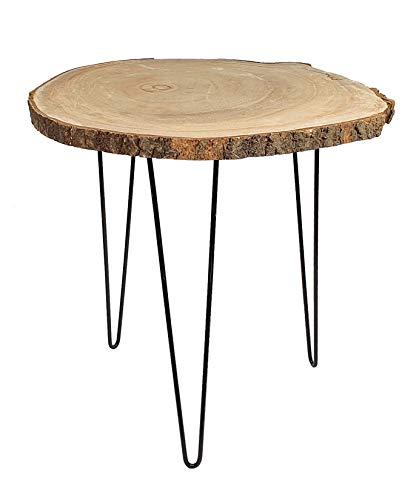 Spetebo Rustikaler Massivholz Beistelltisch mit Baumscheibe als Tischplatte - ca. 40 cm x 40 cm - Blumentisch Blumenhocker
