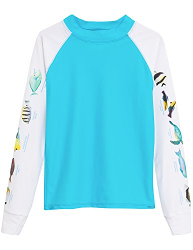 Tuga Girls Snorkel Hawaii Fish ID Rash Guard (UPF 50+), Hawaii, 6/7 yrs
