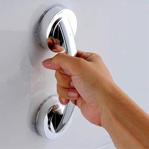 Badezimmer, das Handgriff 2 starker Saugnapf-Sicherheitsgriff Badewanne Dusche Haltegriff-Schiene [Energieklasse A +] (Silber) Dauerhaft und praktisch hilft