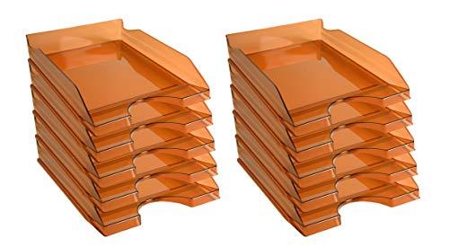 Exacompta EcoTray - Juego de 10 bandejas para correo, color naranja translúcido