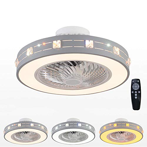 Ventilador de Techo Con Luz Lámpara Iluminación,60W 50CM Luz de Techo LED Silencio con Control Remoto,Velocidad Viento,Regulable Invisible Luces,Interiores Iluminación Decorativa
