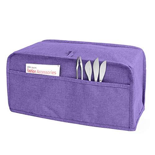 Luxja Abdeckhaube für 4 Scheiben Langschlitzkammern Toaster (39.5 cm x 19 cm x 20.3 cm), Toasterabdeckung mit 2 Taschen (Passt für die Meisten 4 Scheiben Langschlitzkammern Toaster), Lila