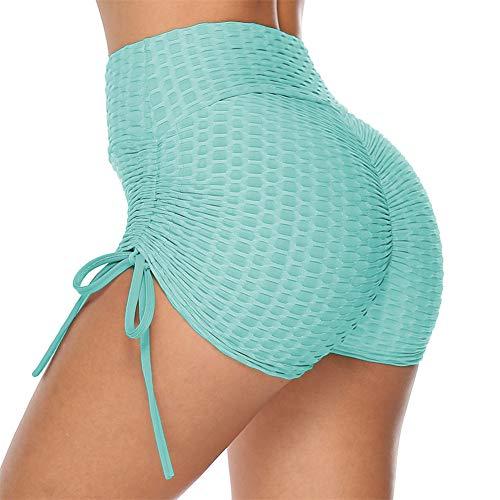 SotRong Damen Sport Shorts Rüschen Hintern High Waist Gym Workout Yoga Kurze Sommer Beach Shorts Hot Pants Hellblau S