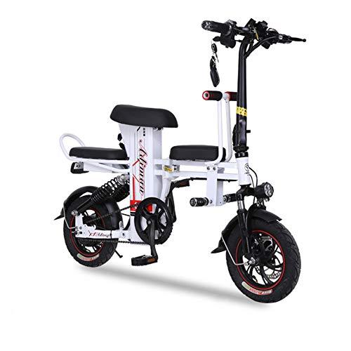 ONLYXKZ - Doble Coche Plegable, Bicicleta eléctrica, batería de Litio, ciclomotor para Adultos, Mando a Distancia, desbloqueo, luz LED Cerrada, Color Blanco, tamaño 11A