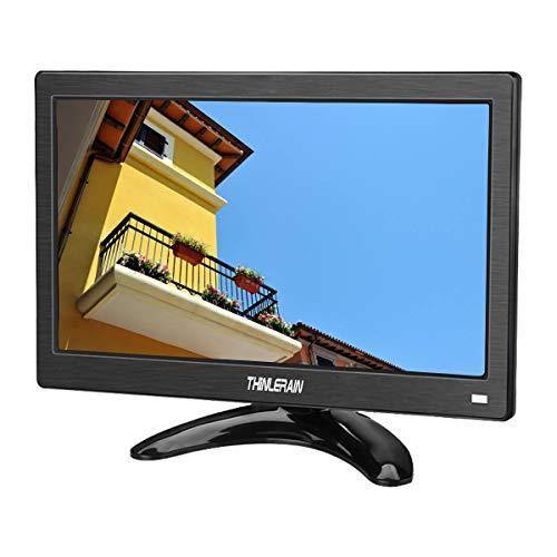 12 Zoll CCTV Monitor Portable 1366x768 IPS TFT Full HD Tragbarer Bildschirm mit HDMI/VGA/USB/AV Audio Ports für DSLR DVD PC TV CCTV Kamera,Thinlerain