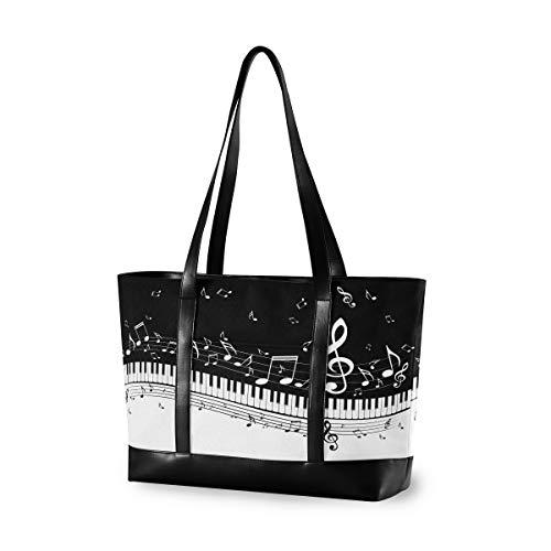 CPYang Laptop-Tragetasche 15,6 Zoll Musik Note Klavier Tastatur Canvas Schultertasche Große Handtasche Frauen Computer Tote Tasche für Arbeit Business Schule Reisen