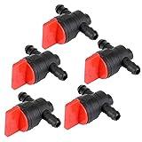 5pcs Vanne d'arrêt Micro-Drip-System Raccord Robinet 1/4 Pouce OD Tuyau Connecteur Outil de Coupure de Carburant de Gaz en Plastique Accessoire Durable pour Tondeuse à Gazon