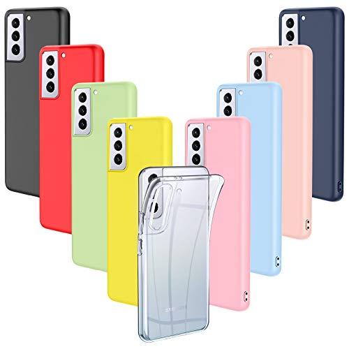 ivencase 9 Pack Funda Samsung Galaxy S21 Plus 5G, Fina Silicona TPU Flexible Cover para Samsung Galaxy S21 Plus 5G Rosa, Verde, Púrpura, Rosa Claro, Amarillo, Rojo, Azul Oscuro, Translúcido, Negro