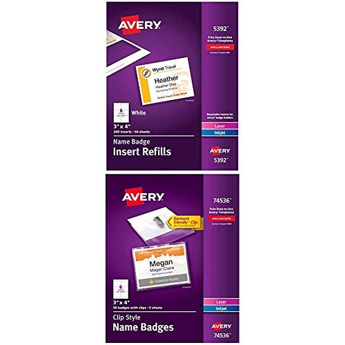 "Avery Name Badge Inserts, Print or Write, 3"" x 4"", 300 Cardstock Refills (5392), White with Avery Clip Name Badges, Print or Write, 3"" x 4"", 50 Inserts & Badge Holders with Clips (74536), White"