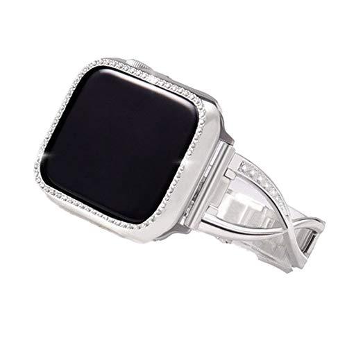 HCKZ La Moda Compatible con 44mm Pulseras de Reloj de Manzana 38 mm 40 mm 42 mm, Correa de reemplazo de Diamante Compatible for iWatch Serie 5/4/3/2/1 Elegante (Color : Silver, Size : 38mm)