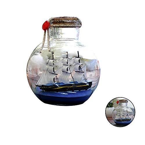 Keebgyy Barco de vela en botella de deriva de cristal mediterráneo barco pirata deseando botella náutica decoración del hogar regalos artesanía