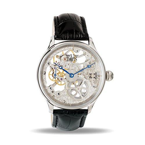 Davis 0890 - Herren Skeleton Uhr Mechanisch Skelett mit sichtbarem Uhrwerk Lederarmband Schwarz