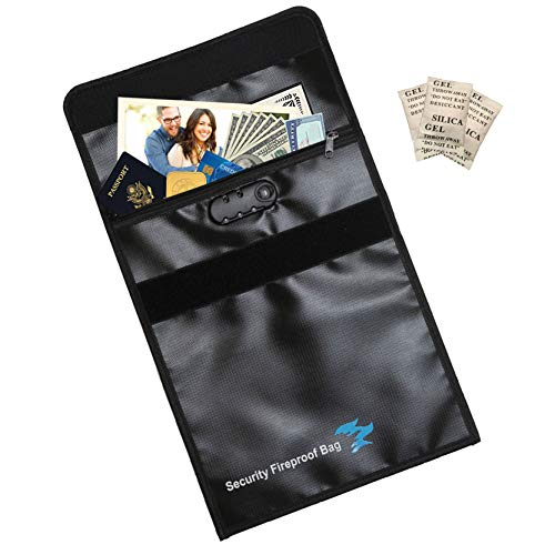 Fireproof Document Bag with Lock Zipper and Velcro Closure, Silica Gel Packs, 12' x 15', NON-ITCHY, Fire Resistant Envelope, Security Safe Storage for Money, Jewelry, Passport, Lockable Locking, Black