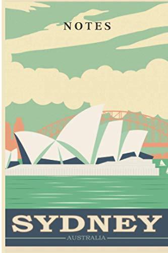 Carnet de notes : affiche vintage Sydney australie: Carnet de voyage format de poche – carnet petit format – 80 pages lignées sur papier crème - couverture brillante - taille 10 x15 - idée cadeau.