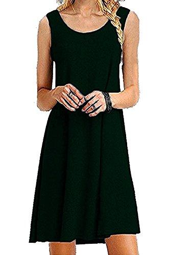 Women's Basic Sleeveless Casual Loose Swing Tank Plus Size Dress Sundress