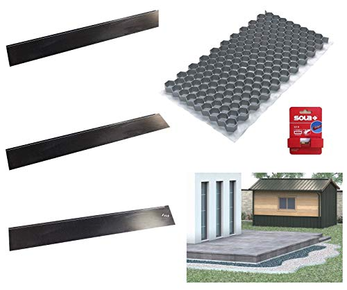 ACO Kiesstabilisierung 764 x 392 x 32 mm, Set mit 13 Matten, 3 Einfassungskanten, 1 Schnurwasserwaage