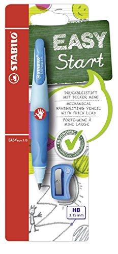 Ergonomischer Druck-Bleistift für Rechtshänder - STABILO EASYergo 3.15 in hellblau/dunkelblau - inklusive 1 dicken Mine - Härtegrad HB & Spitzer