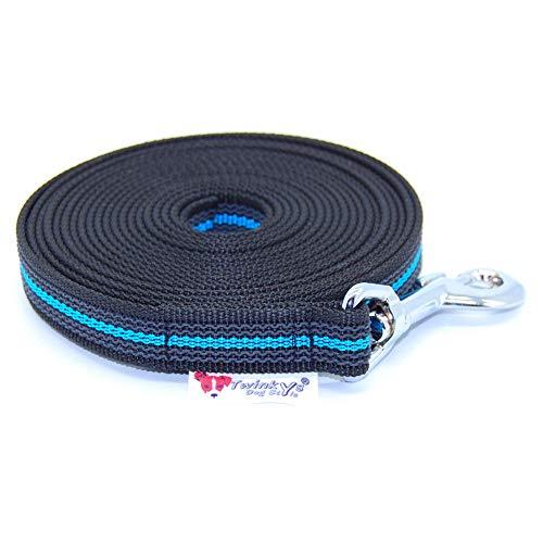 Twinkys Guinzaglio per cani dragline gommato 20 mm per cani fino a 50 kg senza 10 metri nero blu